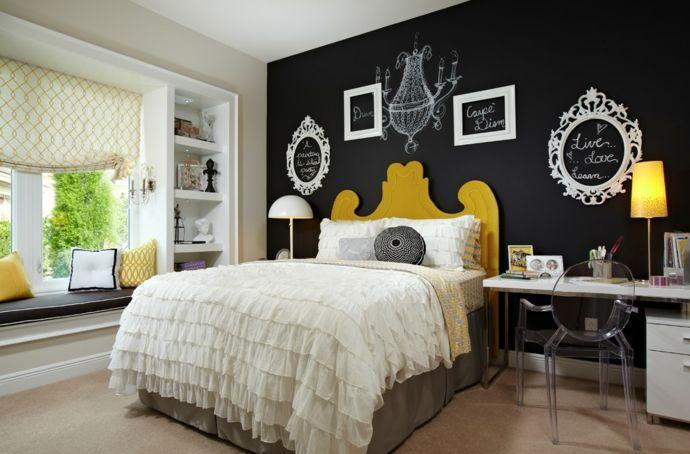 Schlafzimmer Jugendzimmer Designer eklektisch Gelb Schwarz Weiß-Tafelwand