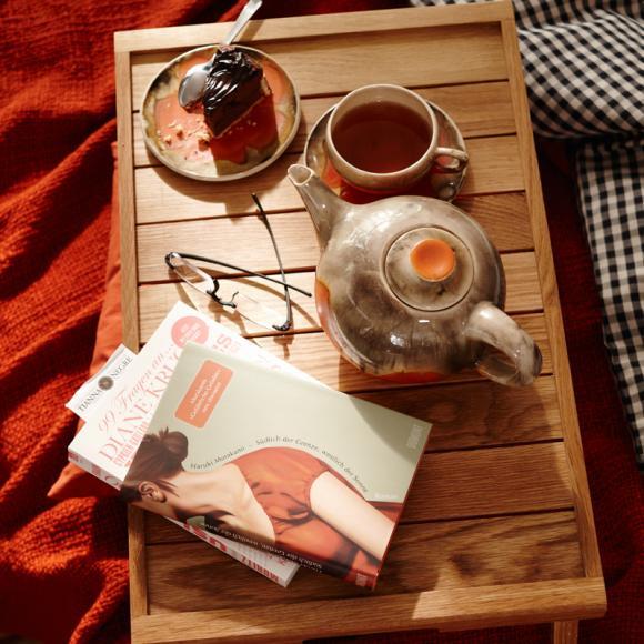 Serviertablett Buch Tee Teekanne gemütlich-Wohnideen