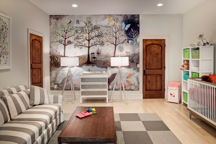Wandbild Grau Weiß Windeltisch Schachbrett Teppich-Kinderzimmer ideen