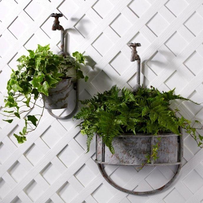 Wandhalterung Vintage Wasserhahn Blumen-Pflanzkübel