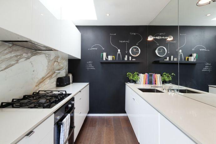 Wohndesign modern Küche Marmor Küchenrückwand Hochglanz-Tafelwand