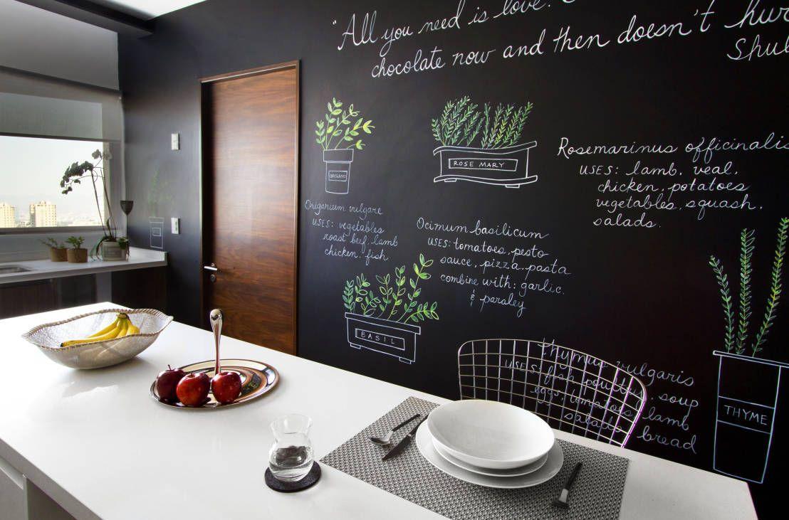 Wohnideen Küche Moderner Stil Weiß Tafelwand Küchentafel Einrichtung modern-Küchen Ideen
