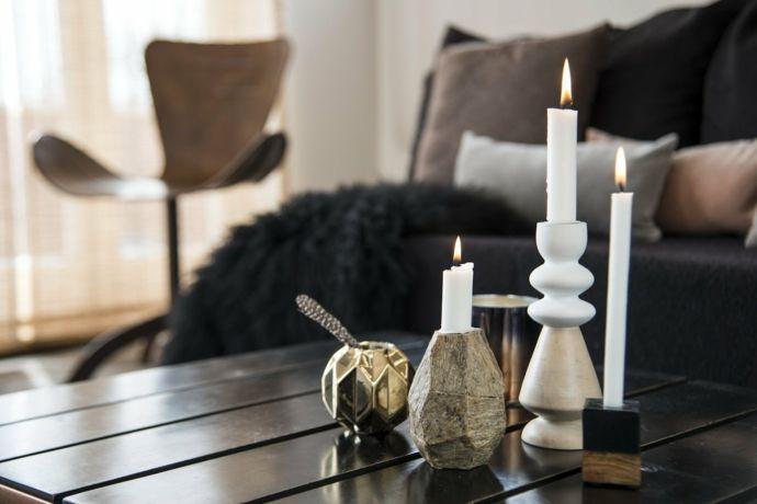 Wohnzimmer Einrichtung Deko Stabekerzen Kerzenhalter-Retro
