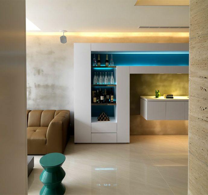 Wohnzimmer Regal Modern Weiß Blau Gelb LED Beleuchtung Luxus Designer Möbel