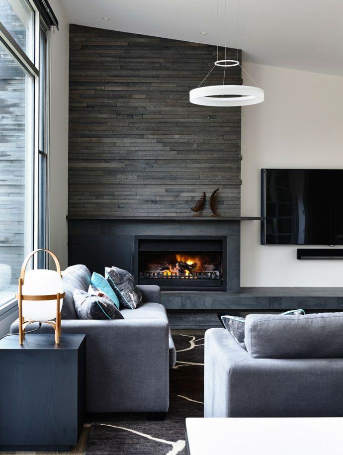 Wohnzimmer mit Eckkamin modern Designer Deckenleuchte-Wohnzimmer Einrichtung Ideen