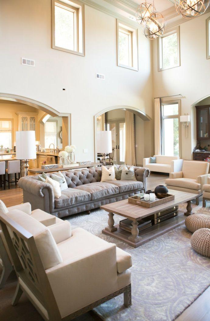 Wohnzimmer zweistöckig zurückhaltend Chesterfield Sofa-Sitzmöbel