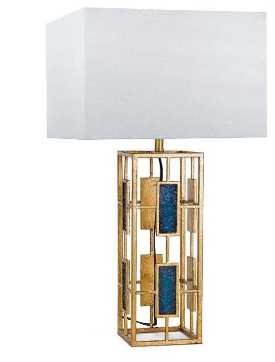 Zeitgenössisch Tischleuchte Lampe Weiß Goldgelb Gelb Dunkelblau royales Blau Nachttisch Beistelltisch Leseecke-Wohnideen