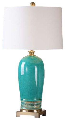 Zeitgenössisch modern Lampe Tischleuchte Türkisgrün Weiß Nachttisch Beistelltisch-Wohnideen