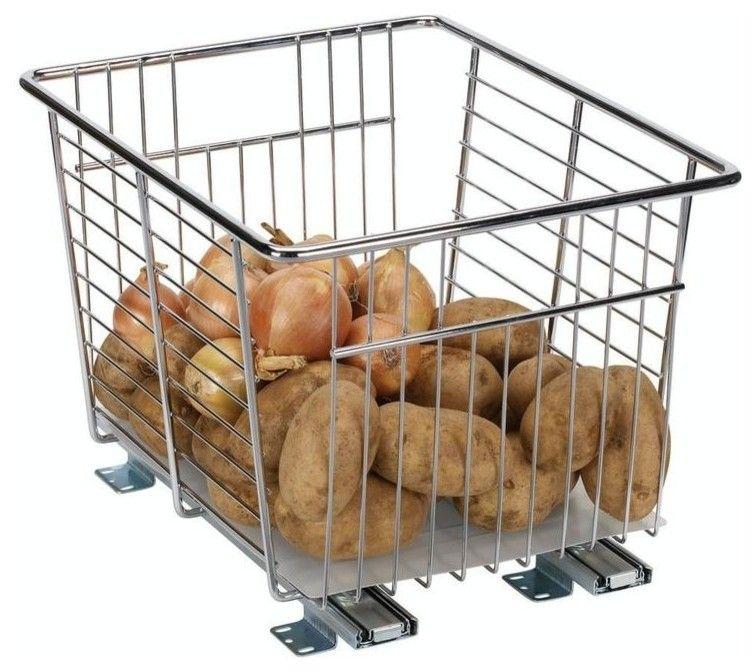 Ablagesystem aus Metall für Zwiebeln und Kartoffeln-Aufbewahrungsbehälter Lebensmittel Gemüse Ordnung Organisation