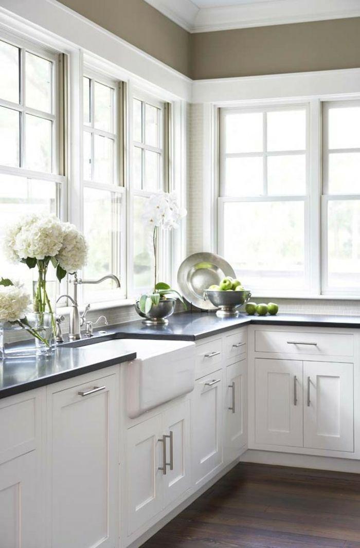 Absolute Black Kochbereich in Schwarz und Weiß-Arbeitsplatten aus Granit
