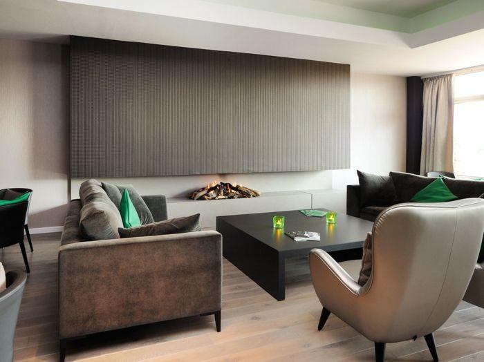 Akzente in Grün-Trendiges Wohnzimmer in Braun