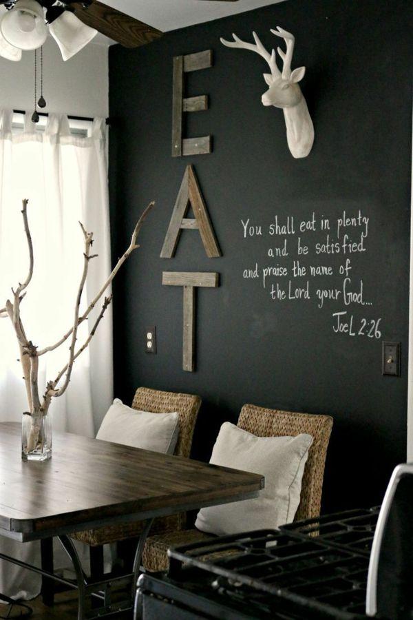 Akzentwand Mit Verschiedenen Dekorationen Wandgestaltung Im Esszimmer