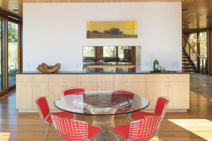 Außergewöhnliche Einrichtung mit Tisch aus Glas und Stühle in Rot-Außergewöhnliche Einrichtung mit Tisch aus Glas und Stühle in Rot