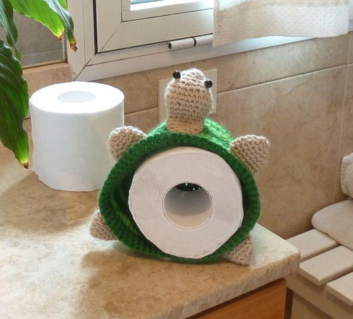 Aufbewahrung Toilettenpapier handgestrickt Schildkröte-Einzigartige Deko Ideen Badezimmer