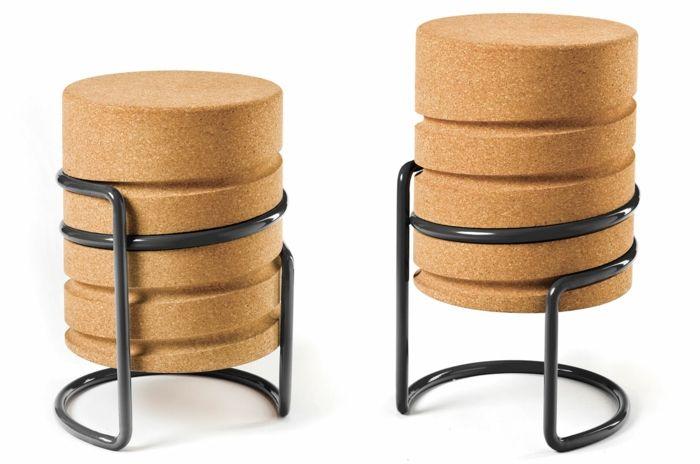 Auffällige Sitzgelegenheit aus Kork-coole innovative moderne Wohnaccessoire Designer Sitzmöbel Hocker aus Kork