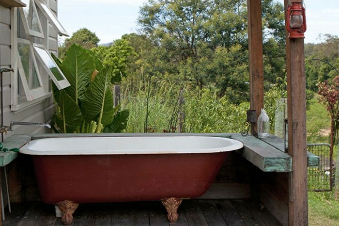 Badewanne im Freien-Veranda Innenhof Gestaltung