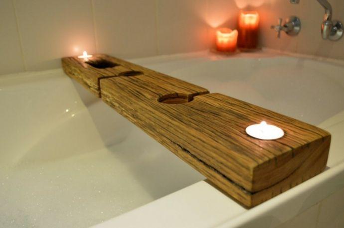 Badewannenablage Holz Teelichthalter Kerzenlicht