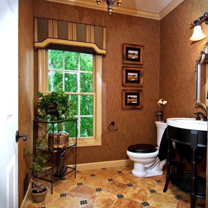 Badezimmer Marmor Glas traditionell Schwarz Weiß-dekorative Deckenleisten