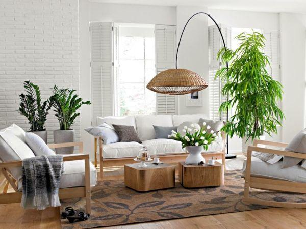 Bambus als güne Pflanze und als schöne Einrichtung im Wohnzimmer-Bambus Dekoration