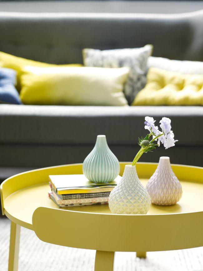 Beistelltisch, Gelb, Dekokissen-Einrichtungstrends