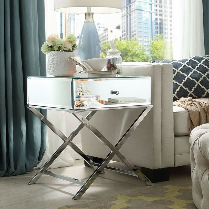 Beistelltisch aus Metall mit Spiegelfläche-Couchtisch Wohnzimmer