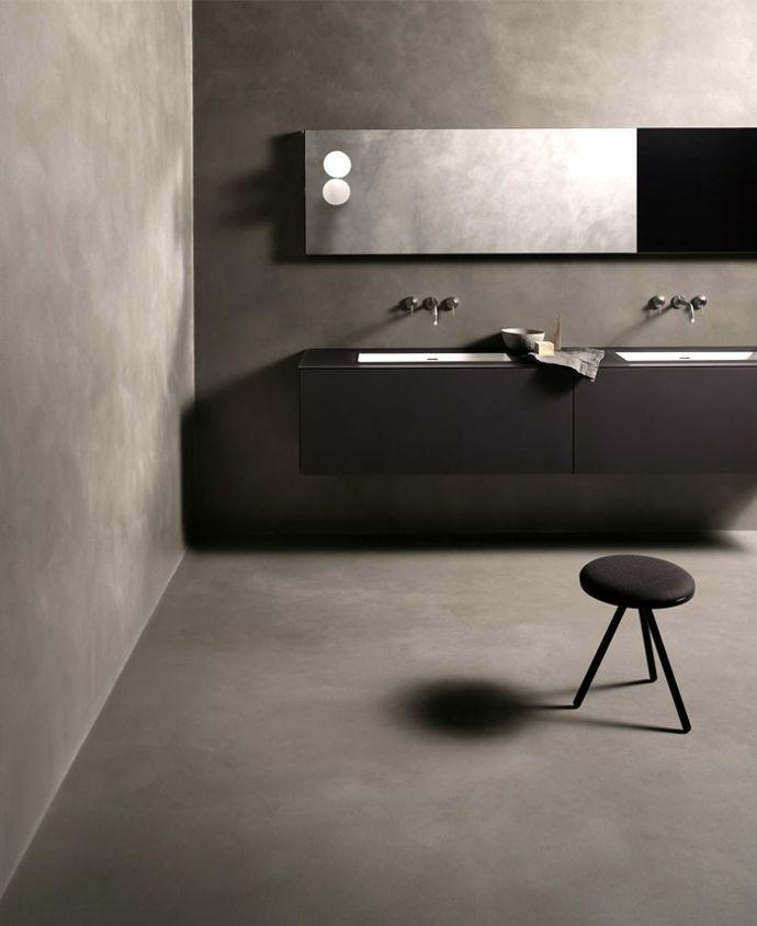 Betonoptik und moderne Badmöbel-Badezimmer Gestaltung