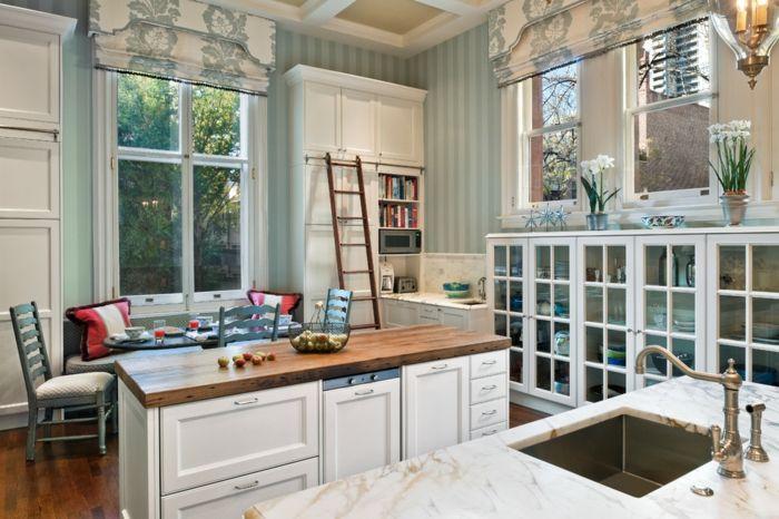 Blumenmuster florale Motive Küche Weiß offen-dekorative Deckenleisten
