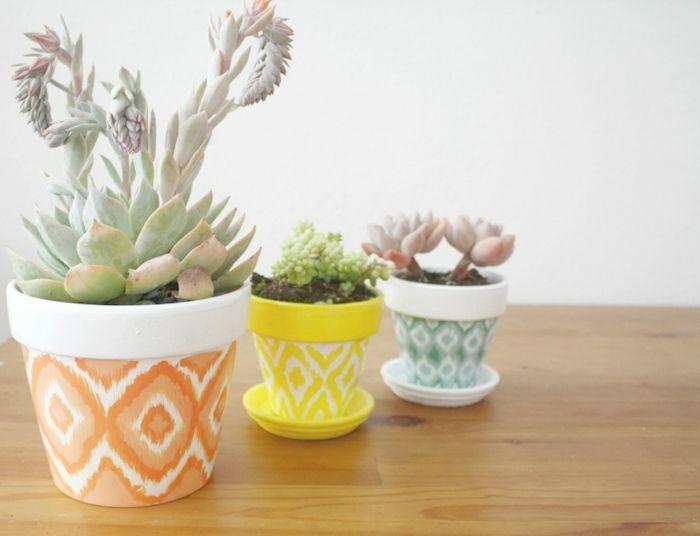 Blumentöpfe mit ethnischem Ikat-Muster-Zimmerpflanzen Blumentöpfe bemalen DIY
