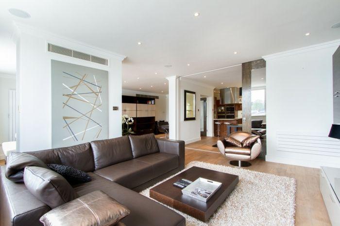 Hervorragend Braunes Ledersofa Trendiges Wohnzimmer In Braun