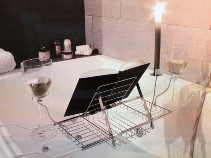 Buchstütze Glashalter Kerzenhalter-Badewannenablage aus Metall