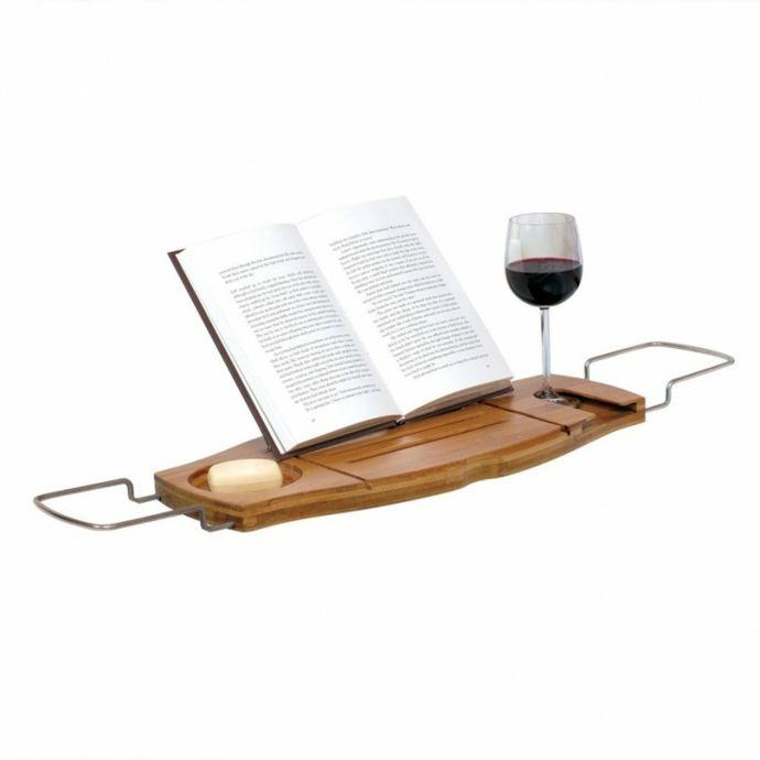 Buchstütze Glashalter Seifenhalter-Badewannenablage aus Holz