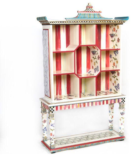 Buntes exotisches Bücherregal-eklektische Möbelstücke