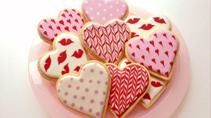 Cookies mit Liebesbotschaftenzum Valentinstag-Desserts Herzform Fondant Süßigkeiten Valentinstag