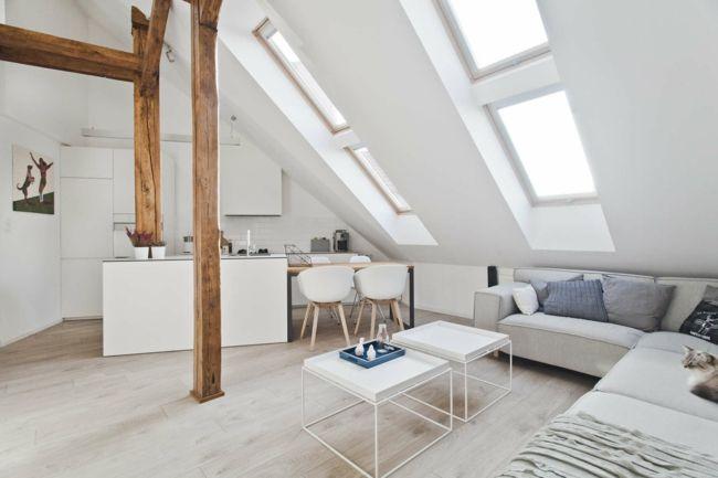 Dach Wohnzimmer, Beistelltisch, weiße Möbel-Einrichtungstrends