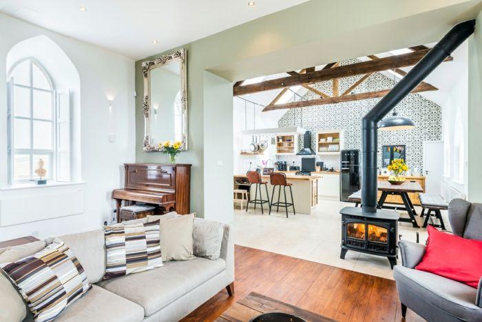 Das Wohnzimmer ist zur Küche offen-Erlesene Retro-Altbau Renovierung Ziegelbau Zementfliesen ländlich rustikal