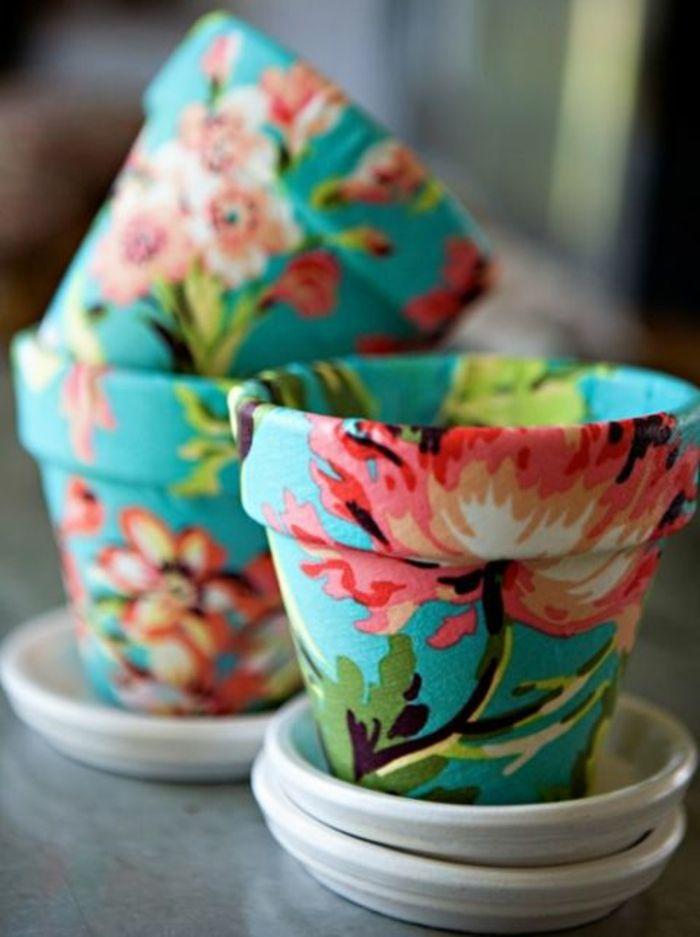 Decoupage mit Blumenmuster-Blumentopf Pflanzentopf Decoupage Frühling