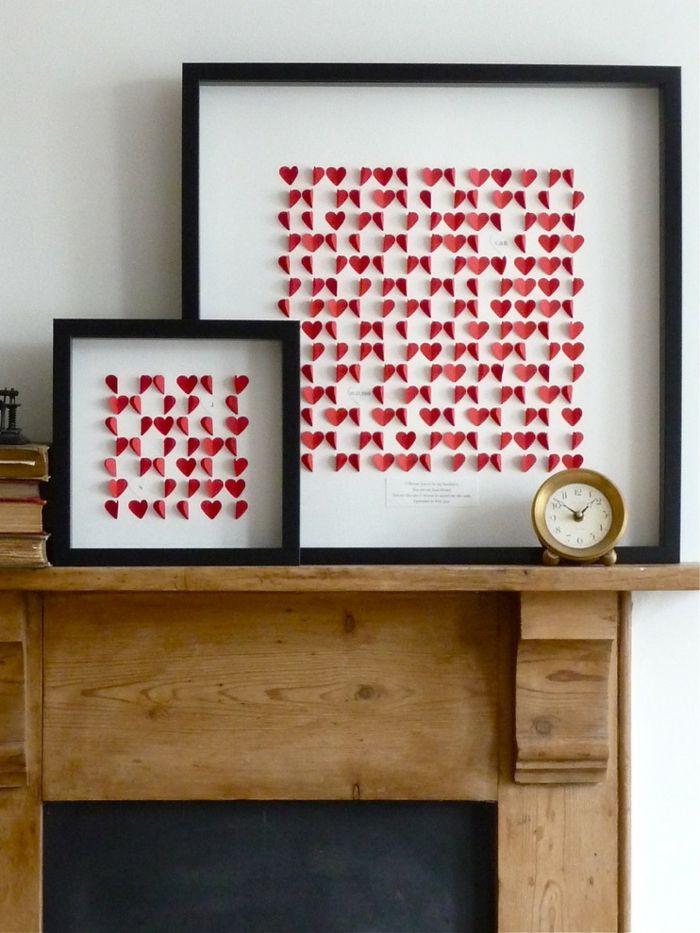Deko Idee Mit Papierherzen Kaminkonsole Romantische Einrichtung Am  Valentinstag