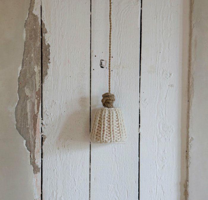 Deko Ideen rustikal Wohnaccessoire-Gestrickter Lampenschirm