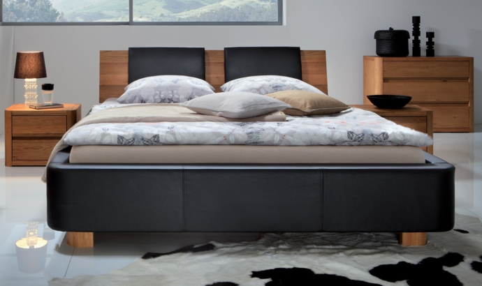 Designer Bett Kopfteil Holz Schwarz-Schlafzimmermöbel