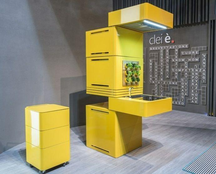 Designer Küche Gelb Waschbecken Grüne wand ausgefallen einzigartig-Modernes Küchendesign