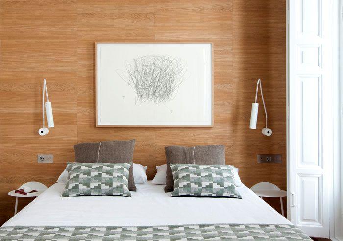 Designer Schlafzimmer mit Holzwand-Vintage Retro Schlafzimmer mit modernen Elementen