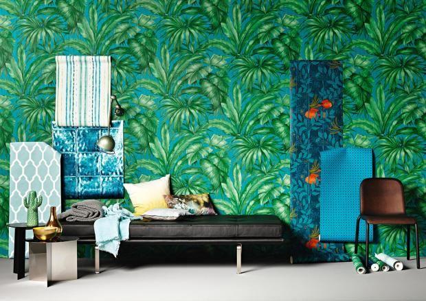 Designer Tapete mit Palmenmotiv in Grün und Blau-exotische tropische Tapete Palmen Wandbild Streifen Ethno-Muster Fliesenmuster