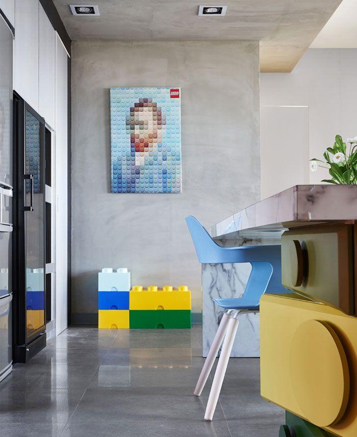 Details und lustige Deko Elemente-Optik verspieltes Interieur Betonwand