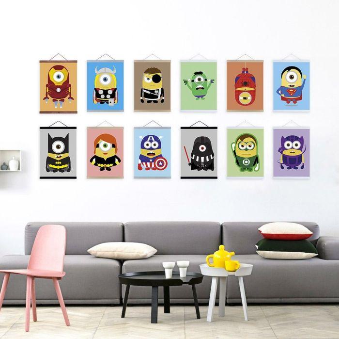 Die Lieblings-Cartoon-Charaktere schaffen eine verspielte Atmosphäre-Bilder Kinderzimmer