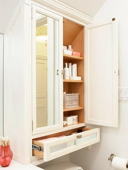 Die Nischen im Bad komplett ausnutzen-Aufbewahrung Badezimmer Hängeschrank kleines Badezimmer in Weiß