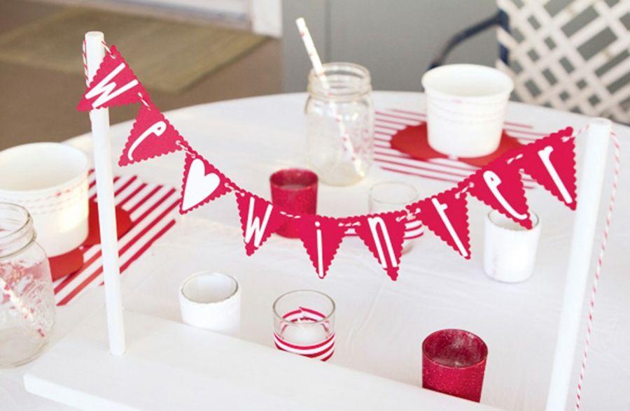 Die Wimpelkette in kleiner Variante-Partydeko Partydekoration Gartenparty Farbmotto Fest Tischdeko Wimpelkette
