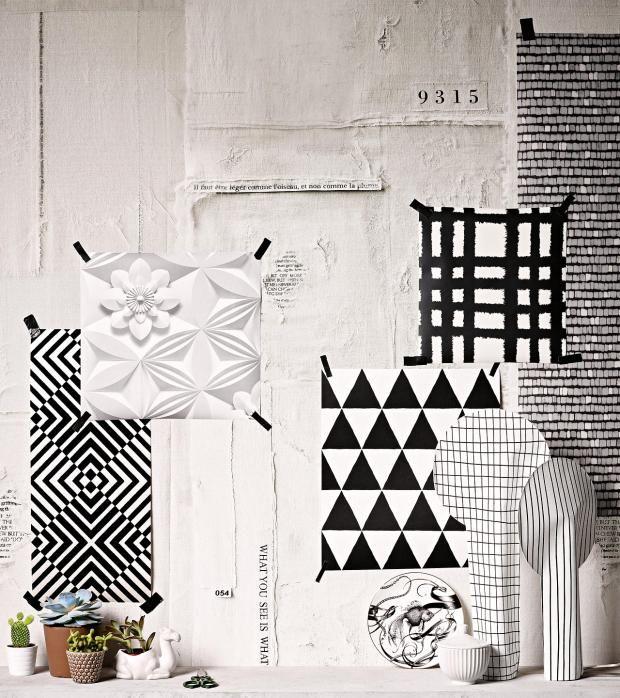 Die geometrischen Formen und Farben bringen Struktur ins Design-weiß Stuck Wandgestaltung Designer Wandtapete Wohnzimmer Wandrelief