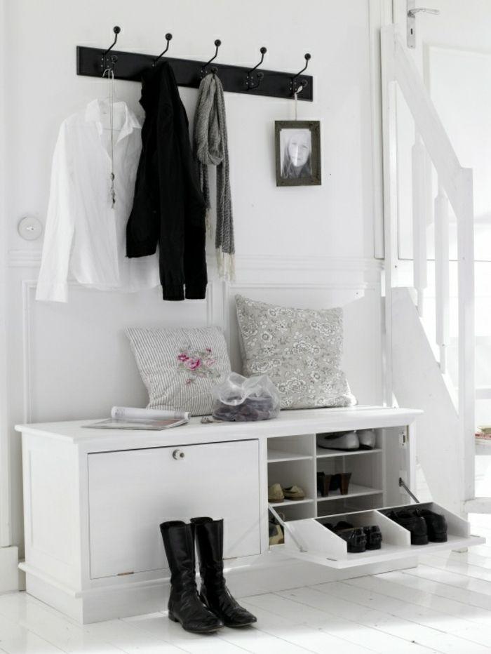 Diele Holzmöbel Schuhschrank Flurgarderobe in Weiß-Dielenmöbel