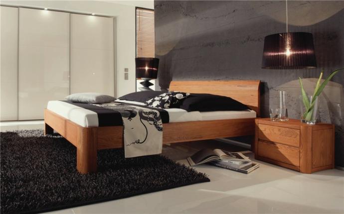 Eiche Massivholz Kopfteil Fuß gerundet Hängeleuchte-Schlafzimmer Ideen