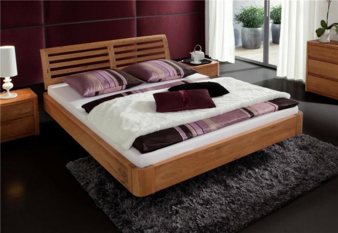 Eichenbett Massivholz Schweberahmen-Schlafzimmermöbel